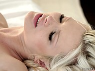 Charming blonde and swain came back to bed to take another dose of pleasure 10