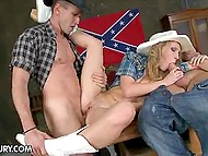 Slutty cowgirl was sucking comrade's dick and listening to his friend's country guitar but soon he joined for threesome 7