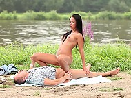 Teenage couple from Russia likes active rest on the banks of the river 8