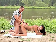 Teenage couple from Russia likes active rest on the banks of the river 9