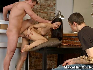 Russian girl tied up unfaithful boyfriend and forced him watch another guy fucking her