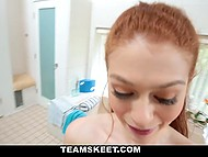 Man with camera persuaded red-haired girlfriend to stay for a while and give him blowjob 6
