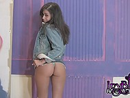 Tiny Ivy Black is fooling around in front of camera demonstrating her little titties and buttocks 3