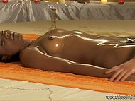 Shaggy guy washed slender feet of skinny girl with dark skin and rubbed dick against her oiled body 9