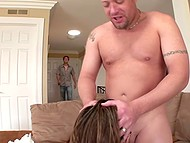 Man with his friend penetrate housewife in all holes and pour her face with cum 3