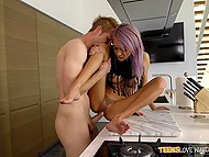 Teenage purple-haired chick is fucking boyfriend while both her parents at work 8