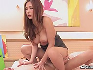 Charming red-headed Asian babe ripped her pantyhose and had sex with boyfriend 6