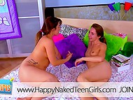 Teenage bashful girlfriends decided to taste each other's cunny at the first time 4