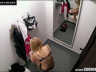 Hidden cameras offer awesome view of teenage Czech girl trying on some lingerie in dressing room 9