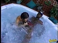 Brunette whore with short haircut blows huge black shaft and goesn't get out of gurgling jacuzzi 4