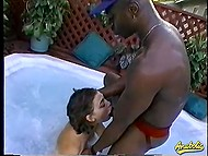 Brunette whore with short haircut blows huge black shaft and goesn't get out of gurgling jacuzzi 5
