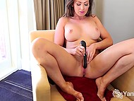 Powerful vibrator had sufficient charge to make big-boobied dame stimulate her pussy into orgasm 9