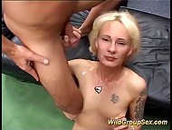 Cum light-haired whore from Germany didn't swallow covered her happy face 11