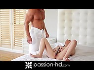 After taking shower, muscled guy caught fancy lady playing with vibrator and replaced it with his heavy penis 4
