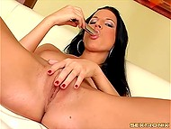 Brunette knows the way to receive pleasure and uses fingers and metallic dildo for it 6