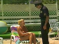 Arousing French Gina Vice didn't have to speak English to seduce cop by the poolside 4