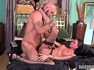 Bald bearded man banged cute brunette with wings tattooed on back making her scream loudly 9