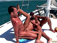 Buddies rented expensive yacht hoping to give Latina with juicy melons a ride on their cocks