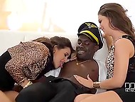 Black stripper in the uniform of pilot turned two glamour girls on with dance before mad threesome 4