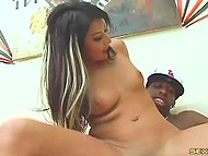 Stylish fellow with black skin easily persuades brunette Evan Valentine to have sex showing huge dick 7