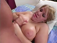 Female with big breasts has been handling cameraguy's penis for a long time till sperm covered her tits 5
