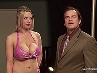 Busty pornstar Kylee Nash acts as stripper in 'Busty Coeds vs Lusty Cheerleaders' movie 11