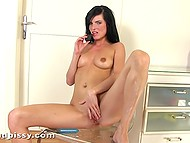 Solo porn video featuring young fetishist stimulating twat with dildo in her urine 11