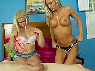 Experienced dame is great at cocksucking and shares her skills with teen stepdaughter 4