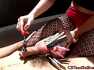 Mistress put clothespins on nipples and guy's cock and used vibrating toy for thrills 5