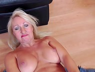 Mature temptress with white hair touches her big pussy lips with manicured fingers 10