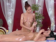 Massage treatments lasted a little bit since master was fingering fragile client's pussy 8
