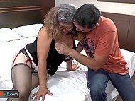 Compilation of two porn clips with participation of tricky old women seducing young dudes 8