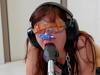 Obedient girl with red hair is used to obey blindly to masked dominant's perverted desires