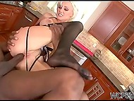 Dark-skinned man tough bangs trimmed pussy of mature housewife in the kitchen 10