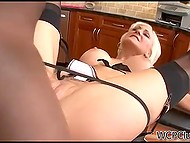 Dark-skinned man tough bangs trimmed pussy of mature housewife in the kitchen 6
