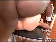 Dark-skinned man tough bangs trimmed pussy of mature housewife in the kitchen 7