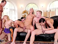 Insatiable hot girls invited to their home three guys to engage in group sex 5