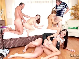 Three loving couples decided to add variety to their sexual life and organized fervent orgy