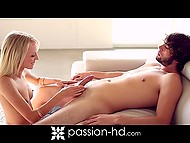 Blonde slender girl stimulated smooth pussy and came to bearded chap in the shower 5