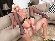 Rich widow with white hair met young stranger for having spontaneous pounding 10