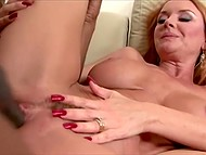 Red-headed dame wastes no time on timid young men and finds herself fucker with huge dick 10