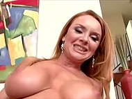 Red-headed dame wastes no time on timid young men and finds herself fucker with huge dick 7