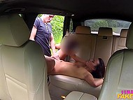 Young taxi-driver blackmailed passenger and made him fuck her in backseat 8
