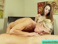 Diligent colleen was sucking boyfriend's pecker so well that blonde stepmom appreciated her job 9