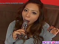 Two guys decided to make Asian give them blowjob after watching enough her masturbating 5