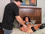 Veronica Avluv in luxurious stockings fingered hungry twat and asked man to take care of it 5