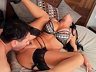 Veronica Avluv in luxurious stockings fingered hungry twat and asked man to take care of it 9