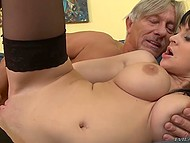 Once old fucker seriously went down to business, dark-haired cuties quickly received needed dose of pleasure 9