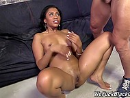 Black-skinned babe with pierced nipples got tight ass and deep throat fucked by white guys 11