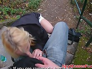Teenage Czech with golden hair got highly paid for pleasing a dick in the park 4